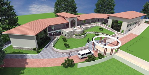Perspective drawing of planned engineering building at Ashesi University